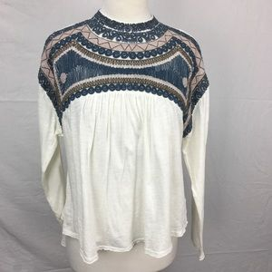 Free People Ivory Snow Bunny Embroidered Boho Top
